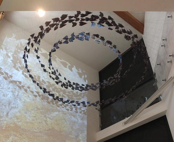 全機上空ニテ待機セヨ 和紙にレーザープリント、着彩他 サイズ可変 CAP 'E' Laser print on Japanese paper with hand-coloring, etc Size Variable 2012