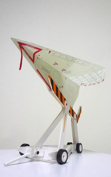 ベース・テスター #2 和紙にレーザープリント、イラストボード、着彩、他 Base Tester #02 Laser print on Japanese paper, acrylic on illustration bord, etc 2011